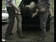 Dogging mature three way in the forest
